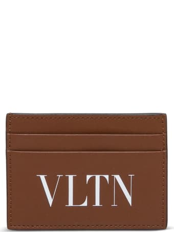 Valentino Garavani Vltn Card Holder In Brown Leather