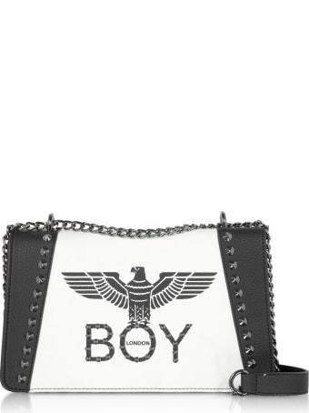 Boy London Black & White Synthetic Leather Shoulder Bag
