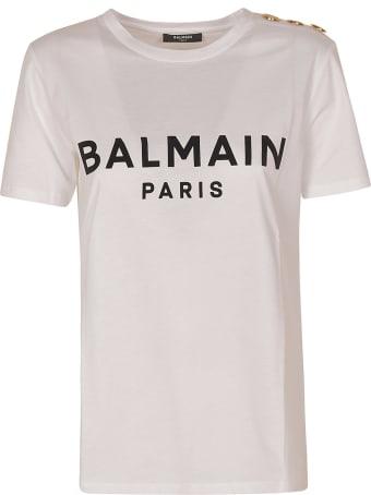 Balmain Logo Print Button Embellished T-shirt