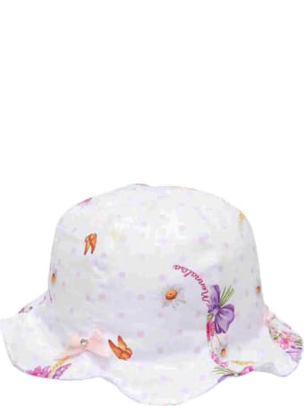 Monnalisa White Hat With Multicolor Print