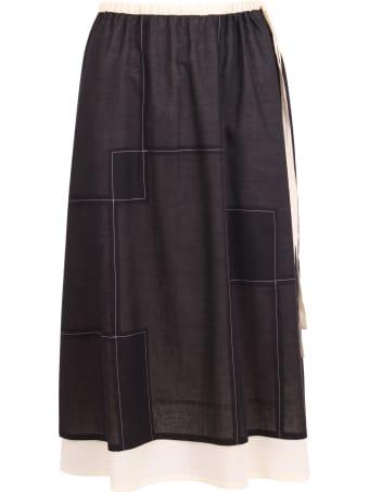 Yoshi Kondo 'hill Layrered' Cotton Skirt