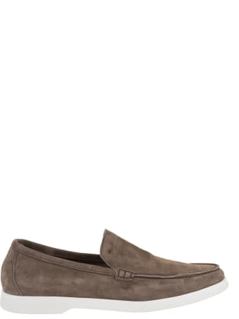 Andrea Ventura Man Taupe Suede Loafer With White Latex Sole