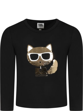 Karl Lagerfeld Kids Black T-shirt For Girl With Choupette