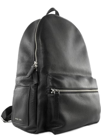 Orciani Micron Deep Backpack In Black Grained Leather