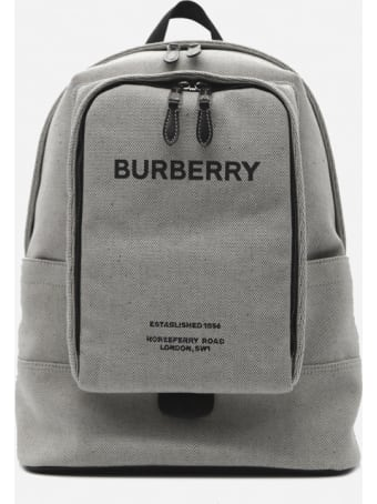 Burberry Cotton Canvas Backpack With Contrasting Logo Print