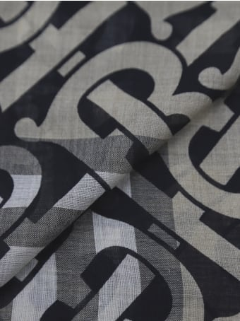 Burberry Wool And Silk Scarf With All-over Monogram Motif