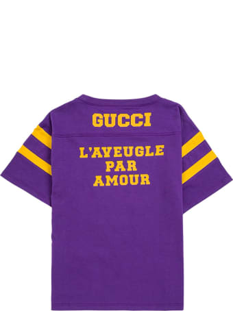 Gucci Purple Cotton T-shirt With Print
