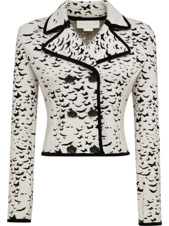 Genny Cropped Double-breasted Blazer With Butterflies
