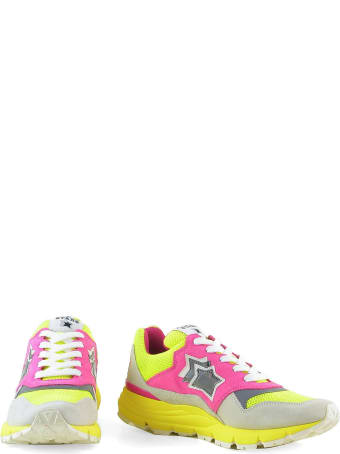 Atlantic Stars Pink And Gray Suede Sneakers W/yellow Rubber Sole