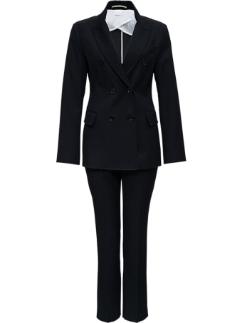Merci Black Double-breasted Tailored Suit