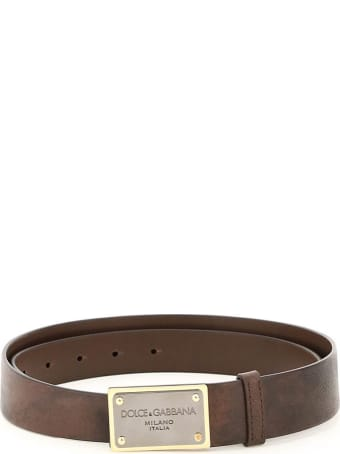 Dolce & Gabbana Eos Calf Leather Belt With Logo Plaque
