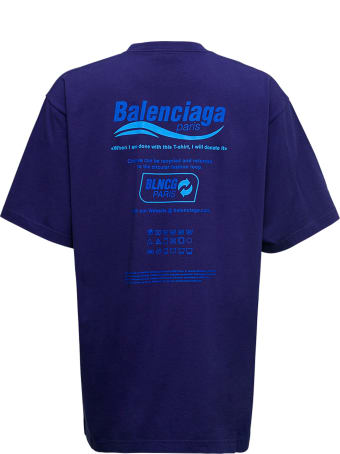 Balenciaga Blue Dry Cleaning Boxy Cotton T-shirt