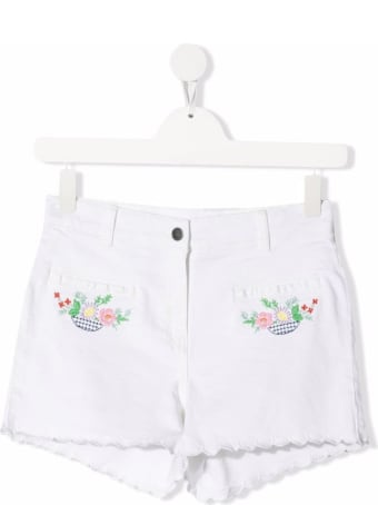Stella McCartney Kids White Cotton Shorts With Floral Embroidery