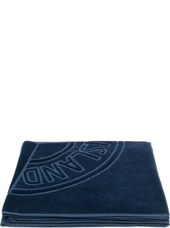 Stone Island Navy Blue Cotton Towel