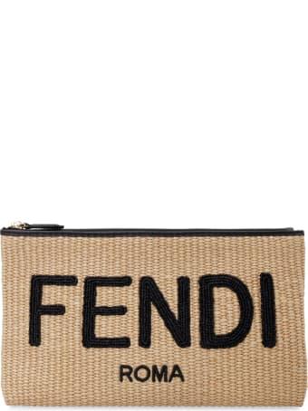 Fendi Raffia Clutch With Embroidered Logo