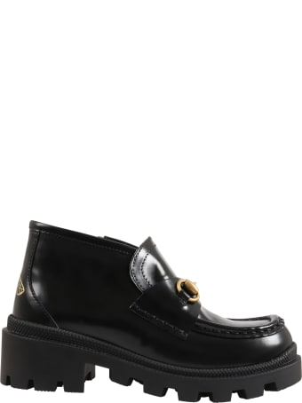 Gucci Black Moccasin For Kids With Iconic Bee