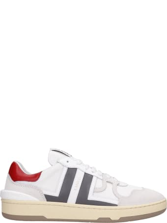 Lanvin Clay Sneakers In White Suede And Leather