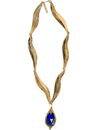 Alberta Ferretti Gold Colored Metal Necklace With Blue Stone