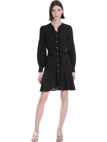 120% Lino Dress In Black Cotton