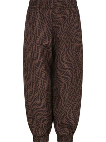 Fendi Brown Trousers For Kids With Logo Vertigo
