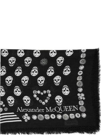 Alexander McQueen Jewelled Button Scarf