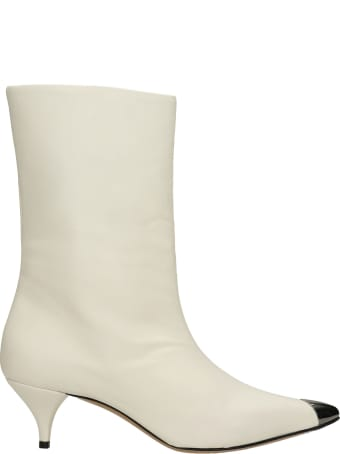 Alchimia Low Heels Ankle Boots In White Leather