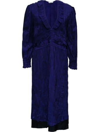 Balenciaga Twill Floral Jacquard Pleated Dress
