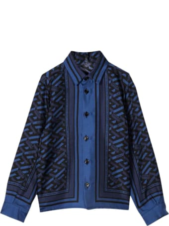 Versace Blue Shirt With Multicolor Back Print Kids