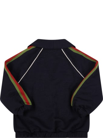 Gucci Blue Jacket For Baby Boy With Double Gg