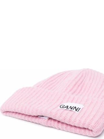 Ganni Cappello Rosa In Lana Ricicata E Logo