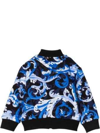 Versace Blue Sweatshirt With Baroque Print Kids
