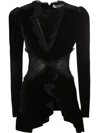 Alessandra Rich Lace Intarsia Velvet Mini Dress