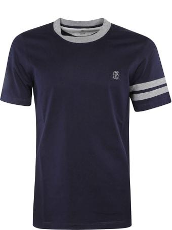 Brunello Cucinelli Stripe Detail Chest Logo T-shirt