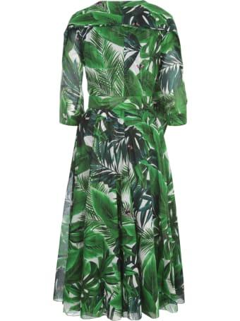 Samantha Sung April Printed Midi Crew Neck 3/4s Dress