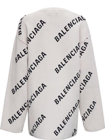 Balenciaga Oversize Cotton And Wool Sweater With Allvoer Logo Print