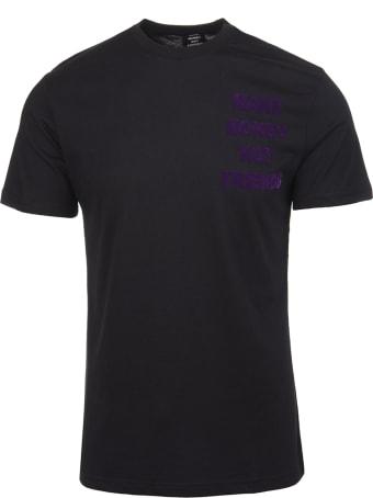 Make Money Not Friends Black T-shirt With Front And Back Velvet Effect Purple Logo