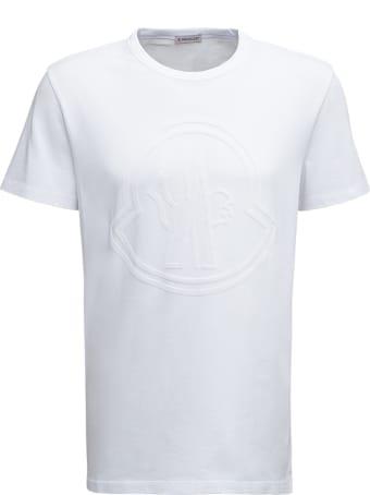 Moncler White Cotton T-shirt With Logo Print
