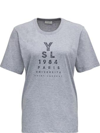 Saint Laurent Jersey Chine Imprime Ysl 1984 T-shirt