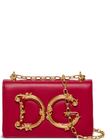 Dolce & Gabbana Dg Girls Crossbody Bag In Red Leather