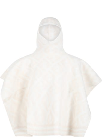 Fendi Ivory Poncho For Girl With Iconic Ff Logo