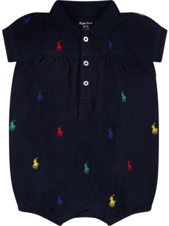 Ralph Lauren Blue Romper For Baby Girl With Pony Logos