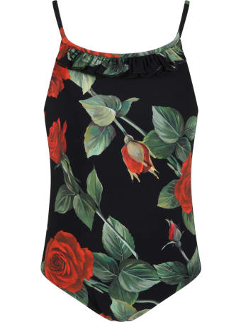 Dolce & Gabbana Black Swimsuit For Girl With Roses