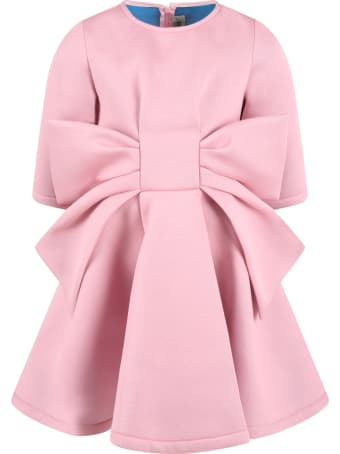 Simonetta Pink Dress For Girl With Bow
