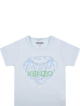 Kenzo Kids Light Blue T-shirt For Babyboy With Elephant