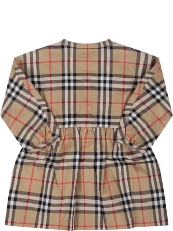 Burberry Beige Dress For Baby Girl With Vintage Checks
