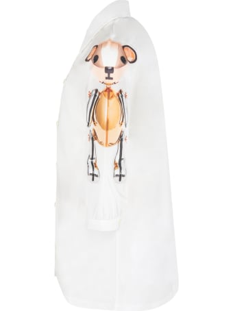 Burberry White Dress For Girl With Thomas Bears