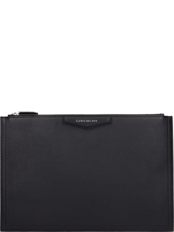 Givenchy Antigona L Clutch In Black Leather