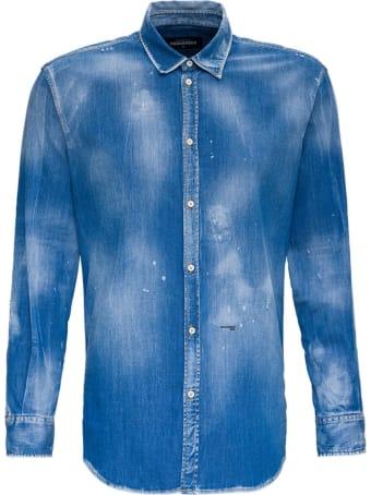 Dsquared2 Denim Shirt With Paint Splatters Detail