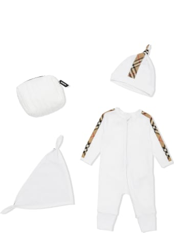 Burberry White Organic Cotton Three-piece Gift Set