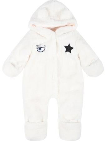 Chiara Ferragni White Babygrow For Baby Girl
